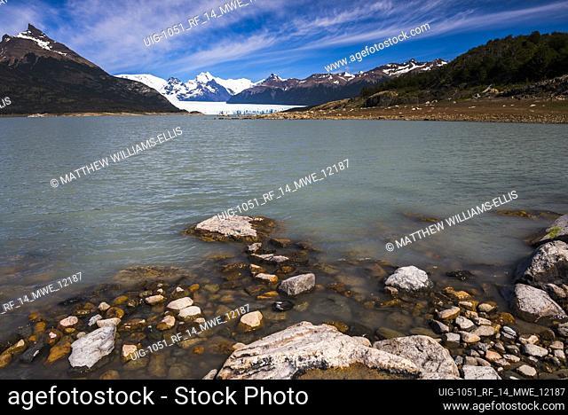 Beautiful Argentina landscape, showing Perito Moreno Glacier rising from Lago Argentino, a lake in Los Glaciares National Park, Patagonia, Argentina