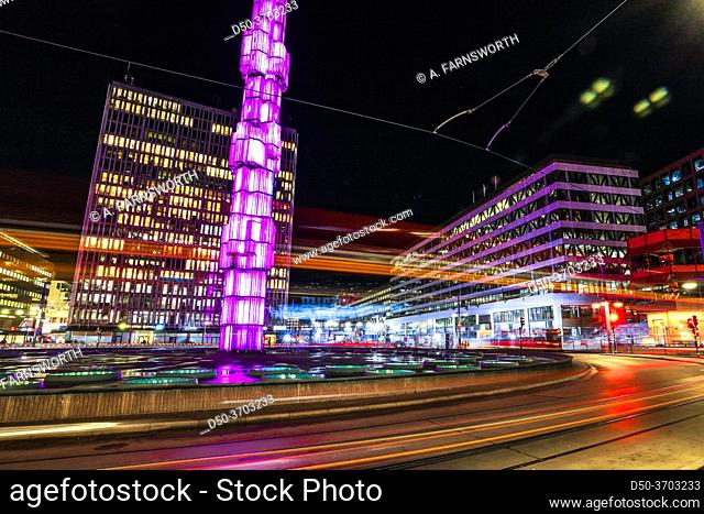 Stockholm, Sweden Oct 30, 2020 Sergels Torg in the center of town at night with traffic streeks