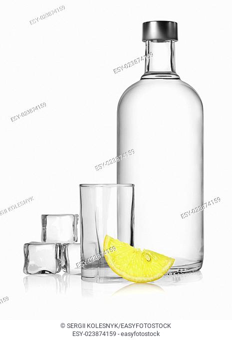 Bottle of vodka and lemon isolated on a white background