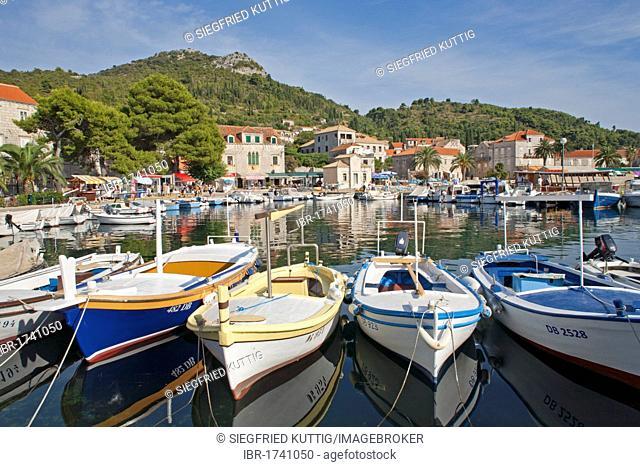 Harbour of Lopud town on Lopud Island near Dubrovnik, Elaphiti or Elafiti islands, Southern Dalmatia, Adriatic Coast, Croatia, Europe