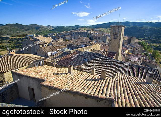 Sos del Rey Catolico village in Cinco villas Zaragoza province Aragon Spain on August 22, 2020. Panorama from the castle