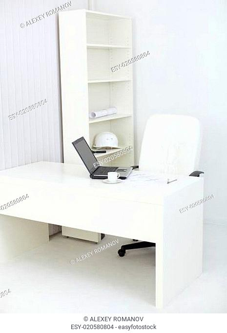 Interior of office with workplace of engineer