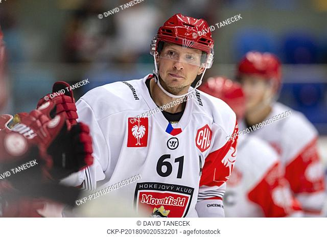 Hockey player DANIEL RAKOS of Mountfield in action during the Ice hockey Champions League matches group F Mountfield Hradec Kralove vs