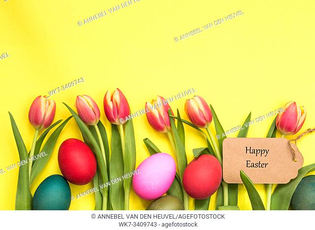 Easter eggs painted and tulips with yellow background and text happy easter april concept