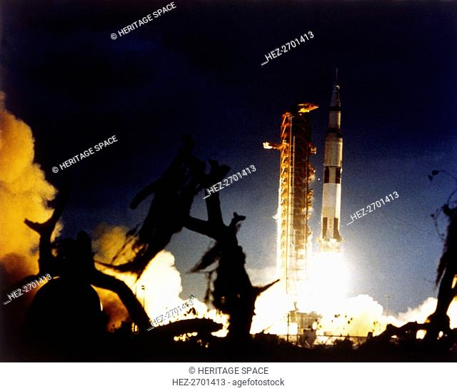 Launch of Saturn V rocket, Kennedy Space Center, Merritt Island, Florida, USA, 7 December 1972. Creator: NASA