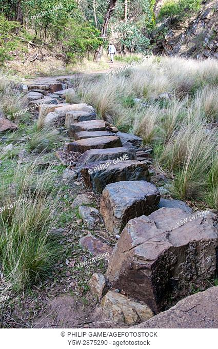 Stepping stones on the Anakie Gorge track, Brisbane Ranges National Park, west of Melbourne, Victoria, Australia