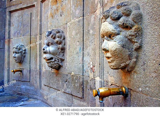 Font del Carme by architect Josep Goday in Plaça Joan Amades, Ciutat Vella, Barcelona, Catalonia, Spain