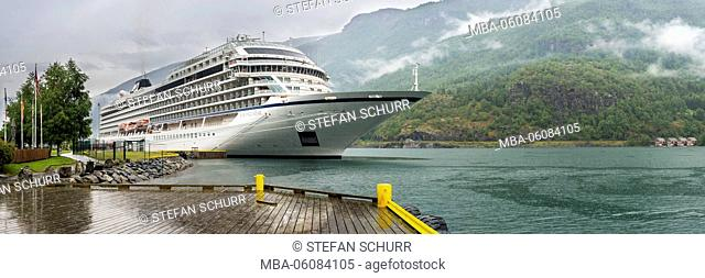 Cruise ship in the harbour of Flam, Aurlandsfjord, local authority district Aurland, south Norway