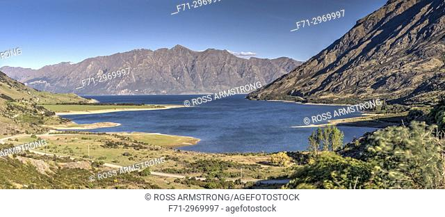 Lake Hawea in the Otago Region of New Zealand, at an altitude of 348 metres. It covers an area of some 141 km² and is, at its deepest, 392 metres deep