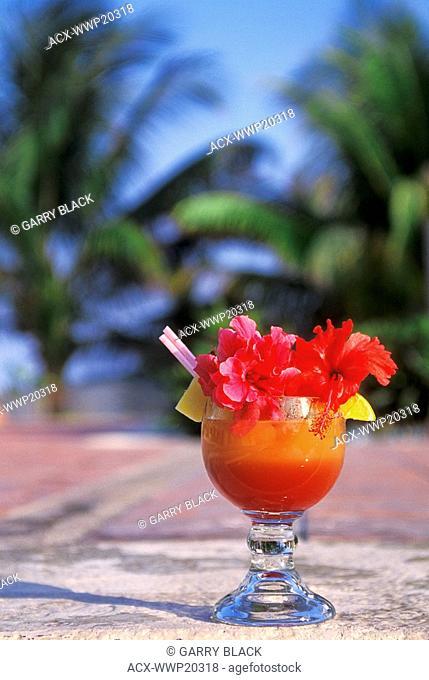 Close-up of tropical drink, Puerto Aventuras, Yucatan, Mexico