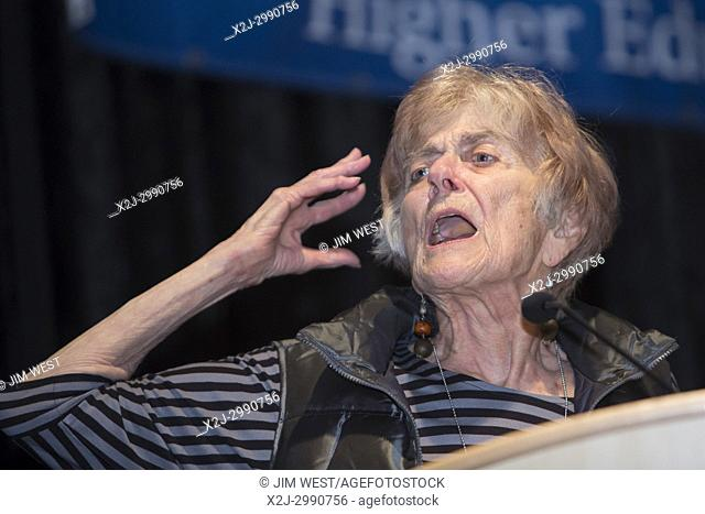 Detroit, Michigan - Frances Fox Piven speaks to a meeting of the American Federation of Teachers' university and college teachers