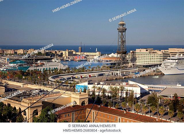 Spain, Catalonia, Barcelona, Montjuic, Panoramic view