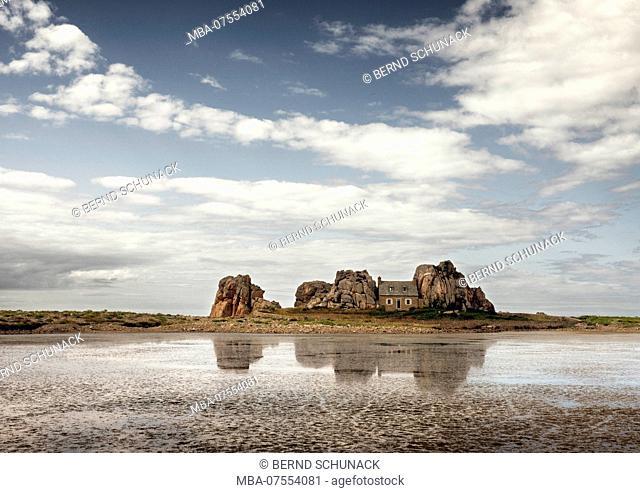 La Maison du Gouffre, famous house between the rocks on Plougrescant Peninsula, Brittany