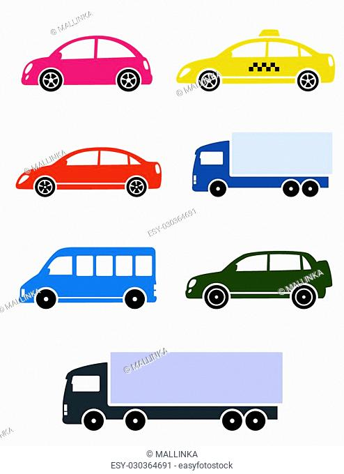 colorful cars set on white background