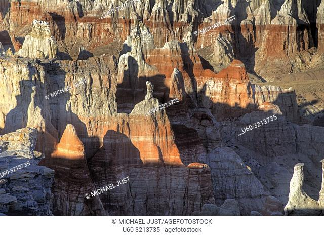 Eroded sanstone rock formations make up the landscape at Coalmine Canyon in Northern Arizona