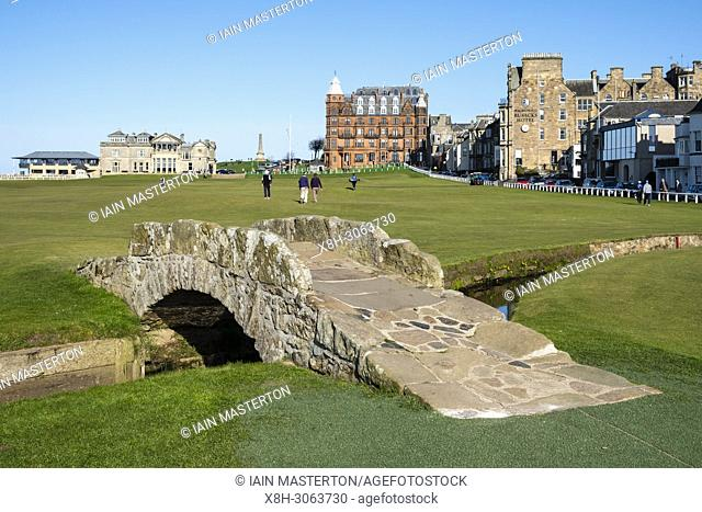 View of 18th hole fairway of The Royal and Ancient Golf Club (R&A) and famous old Swilken Bridge over Swilken Burn on 18th Hole atOld Course in St Andrews, Fife