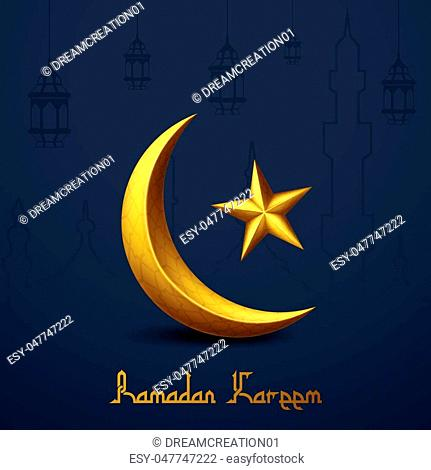 Vector illustration of Ramadan Kareem islamic greeting with golden crescent moon and star. Line mosque and traditional lantern hanging