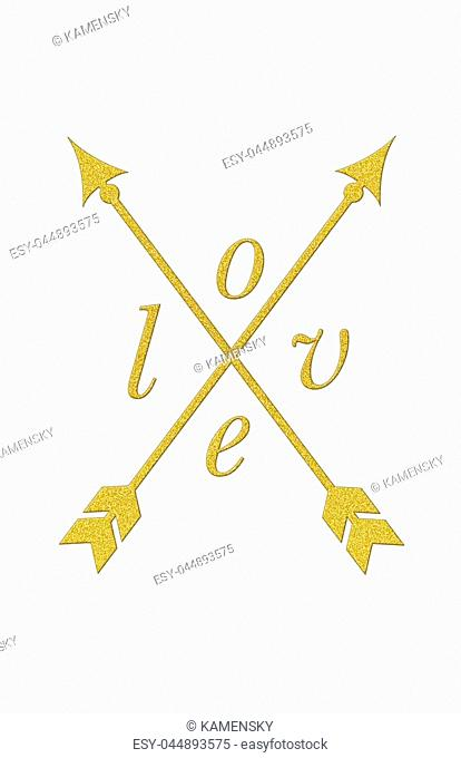 Love sign with tribal arrow in gold glitter