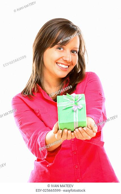 Woman with a present isolated on white