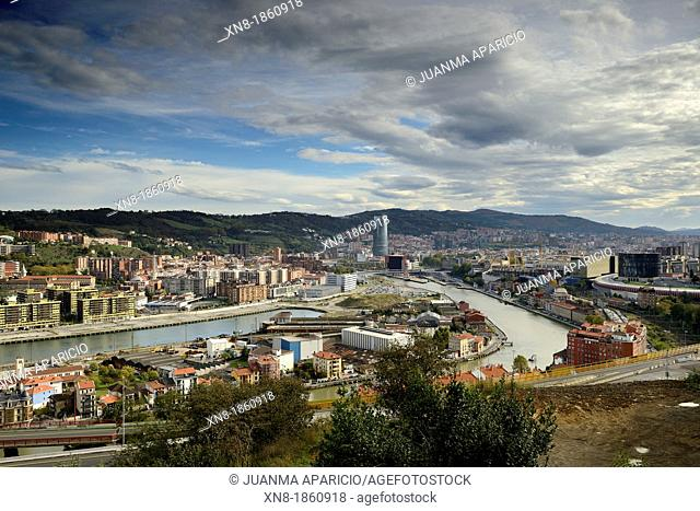 Aereal view of Bilbao City, Biscay, Basque Country, Spain