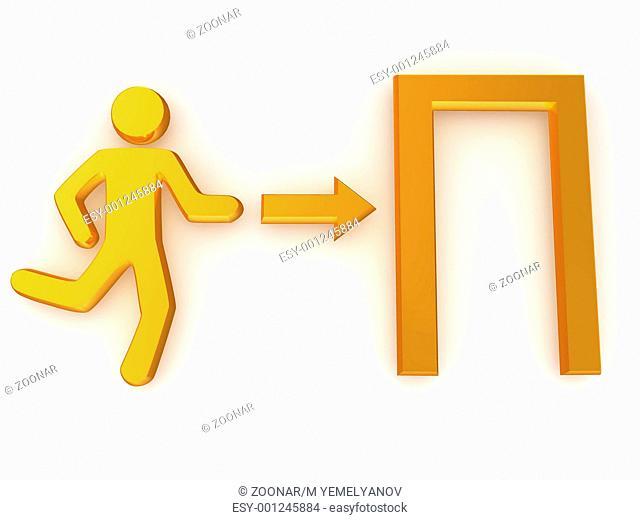Sign exit. 3d