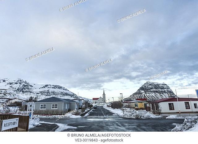 Streets of Grundarfjörður, Snæfellsnes peninsula (region of Vesturland, Iceland)