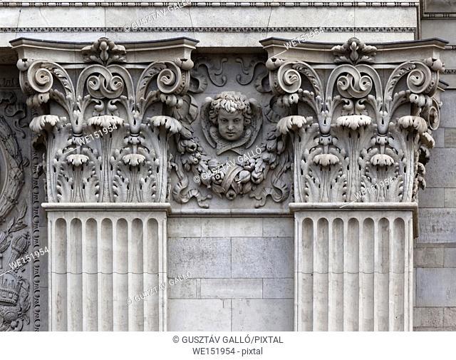 Budapest, Hungary, Szent István Basilica Neo Renaissance window detail