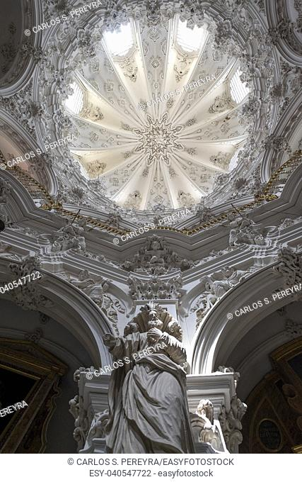 The baroque interior of the church of Las Mercedes in Priego de Cordoba is one of the best examples of this type of architecture in all of Andalucia and Spain