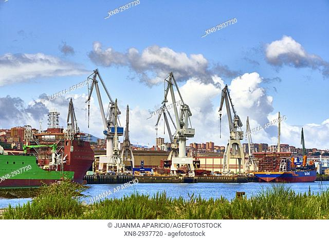 Crane in Shipyard, Sestao, Biscay, Basque Country, Spain, Europe