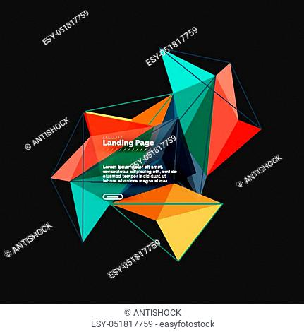 Vector 3d triangle abstract background, polygonal geometric modern design