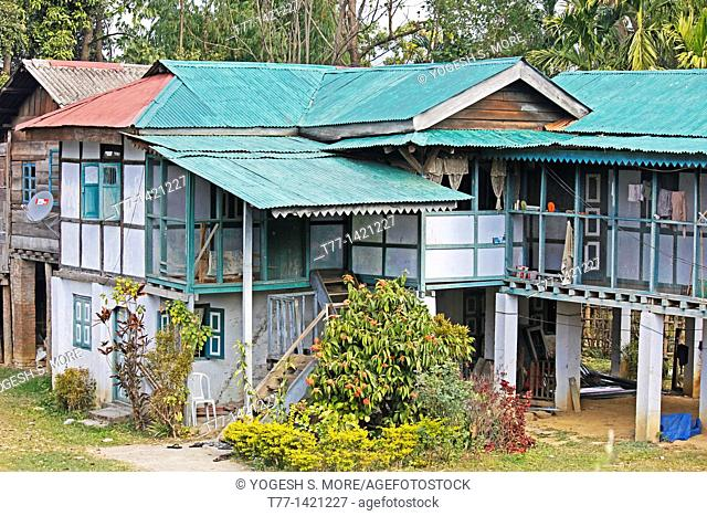 Singpho Traditional wooden house, Miao, Arunachal Pradesh, India