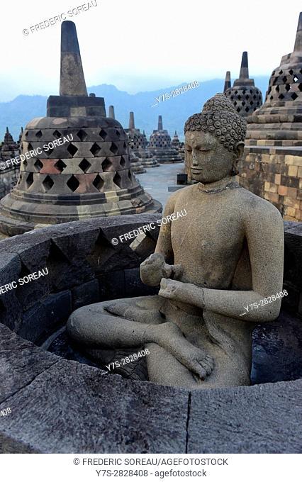 Stupas and Buddhas of Borobudur, Java, Indonesia, South East Asia