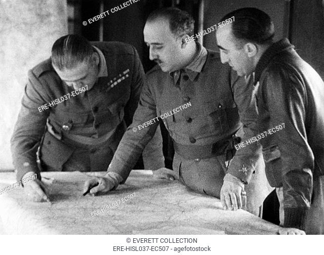 General Franco with two leaders of the battles in the Terual front. Fighting at Alfambra resulted in a victory for the Nationalists, Feb 5-8, 1938