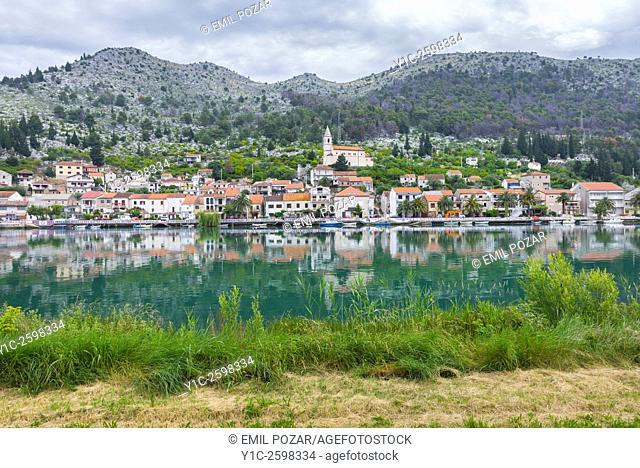 Perast old town from across Kotor Bay, Montenegro