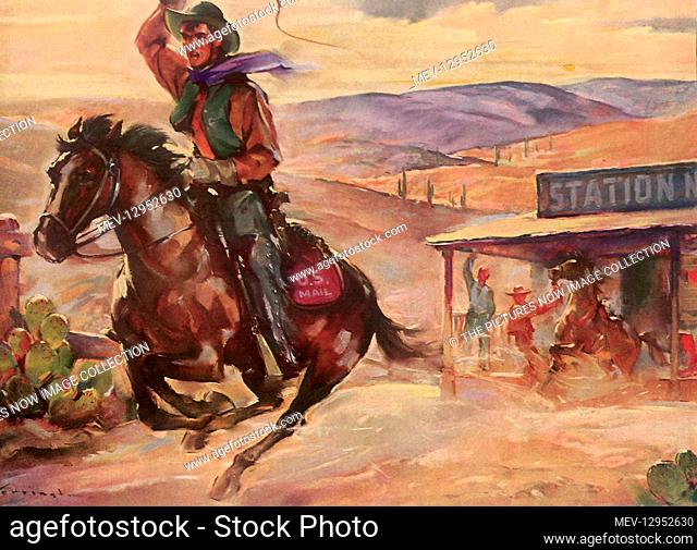 Cowboy delivering Mail for Pony Express