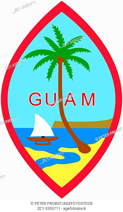Coat of arms of the Territory of Guam in the western Pacific Ocean - USA