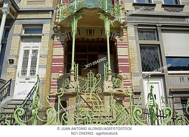 Detail of Gustave Strauven's Art Nouveu style Maison Saint-Cyr. Brussels, Belgium, Europe