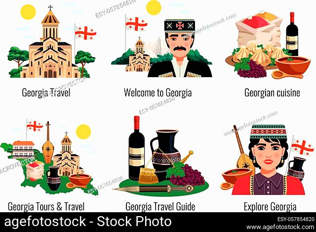 Georgian culture symbols cuisine traditions landmarks sightseeing tourists travel guide 6 flat compositions set isolated vector illustration