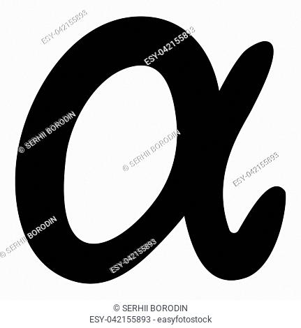 Symbol alpha icon black color vector illustration flat style simple image