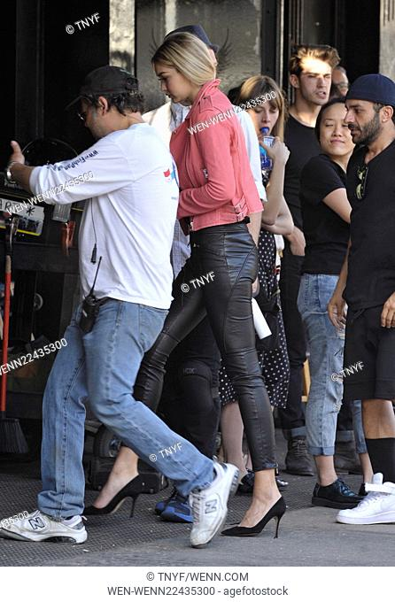 Gigi Hadid shooting a commercial in the village Featuring: Gigi Hadid Where: New York City, United States When: 29 Apr 2015 Credit: TNYF/WENN.com
