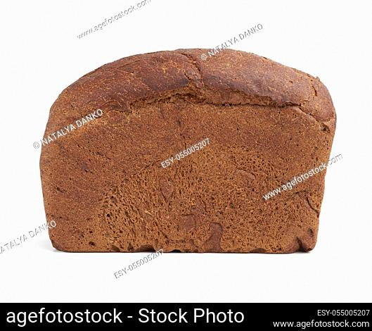 baked rectangular rye flour bread isolated on white background, healthy product, close up