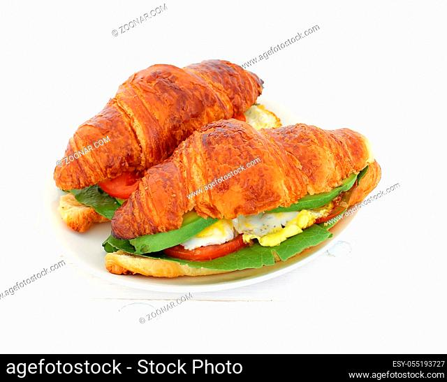 Food. Delicious sandwich out of croissant