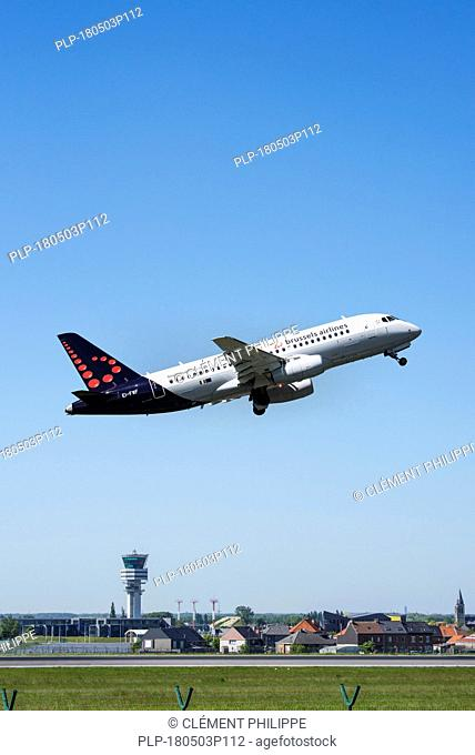Sukhoi Superjet 100-95B from Brussels Airlines taking off from runway at the Brussels-National airport, Zaventem, Belgium