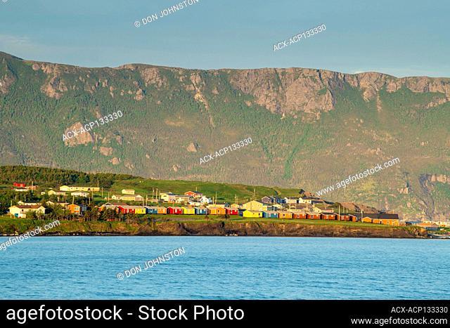Headland and town along coast, Rocky Harbour, Newfoundland and Labrador NL, Canada