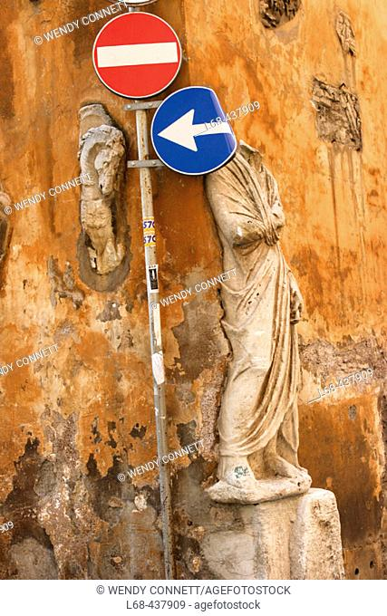 Roman Antiquities, Traffic Signs. City Center. Rome. Italy