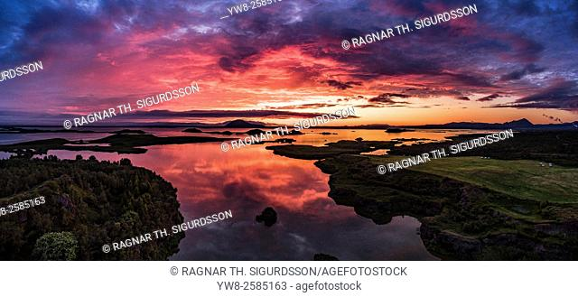 Sunset over Lake Myvatn, Iceland