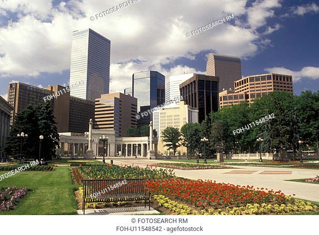 skyline, Denver, CO, Colorado, Skyline of downtown Denver from Civic Center Park adorned with flowers
