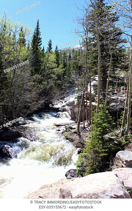 The rushing water of Alberta Falls on the Glacier Gorge Trail in Rocky Mountain National Park, Colorado, USA
