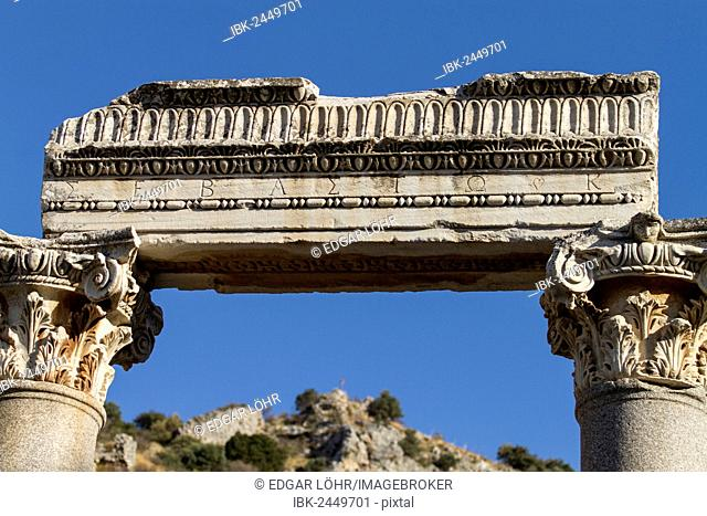 Detail view of an ancient building, Ephesus, Efes, Selcuk, Turkey
