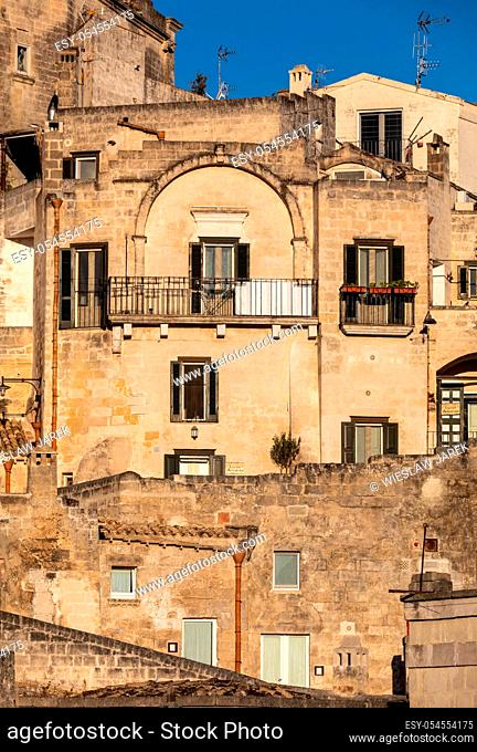View of the Sassi di Matera a historic district in the city of Matera, well-known for their ancient cave dwellings. Basilicata. Italy
